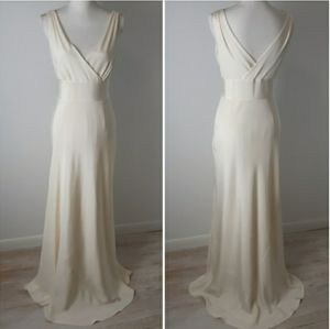 J. Crew Sophia Tricotine Silk Gown Ivory